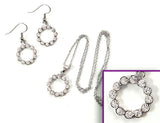 SCALLOPED CIRCLE Clear Stone: Earrings w/ Necklace Set