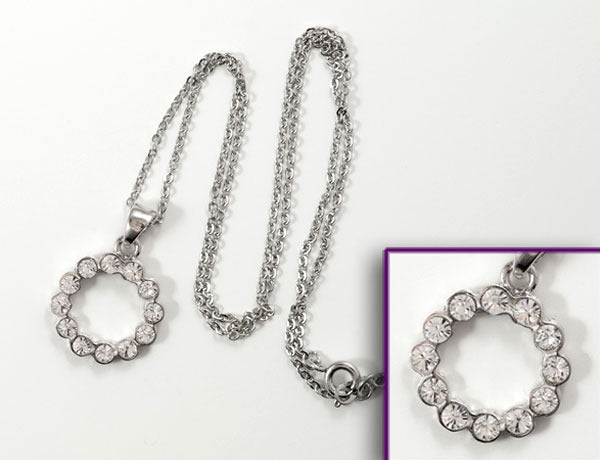 SCALLOPED CIRCLE Clear Stone: Necklace