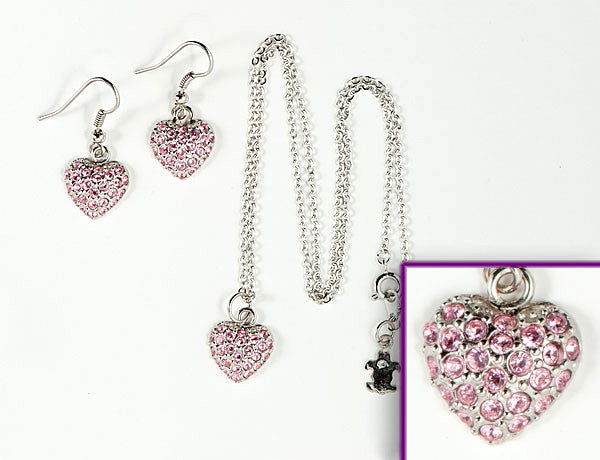PUFFY HEART Light Rose Pave': Earrings w/ Necklace Set