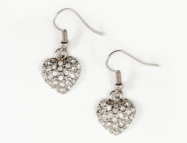 PUFFY HEART Clear Pave': Earrings