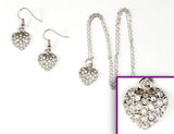 PUFFY HEART Clear Pave': Earrings w/ Necklace Set