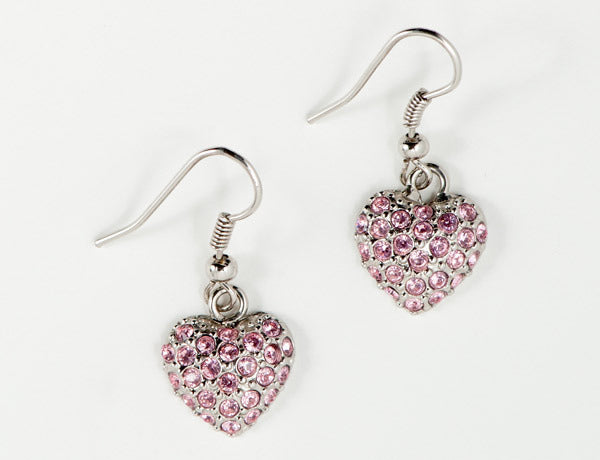 PUFFY HEART Light Rose Pave': Earrings