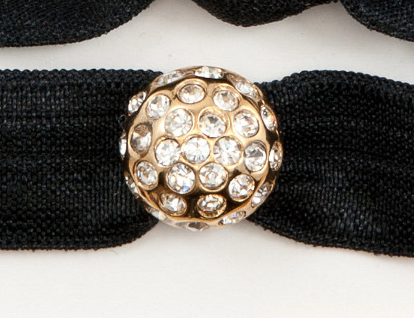DISCO BALL Gold-Plated Clear Stones: Hair Tie/Bracelet Sets
