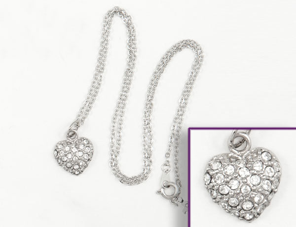 PUFFY HEART Clear Pave': Necklace