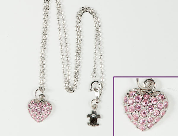 PUFFY HEART Light Rose Pave': Necklace