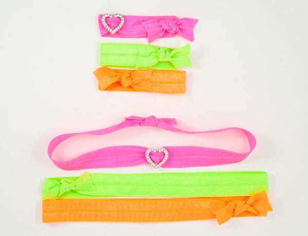 OPEN HEART Clear Stone: Hair Tie w/ Headband 6-Packs