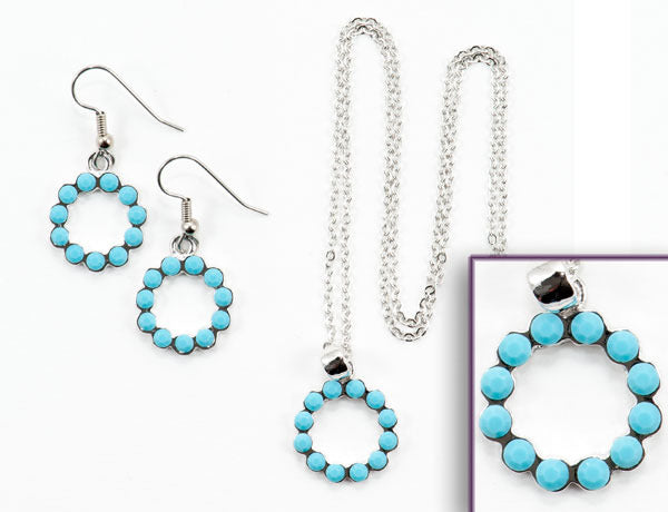 SCALLOPED CIRCLE Turquoise Stone: Earrings w/ Necklace Set