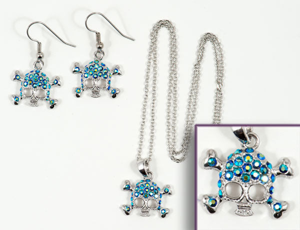 SKULL Blue Jet AB Stone: Earrings w/ Necklace Set