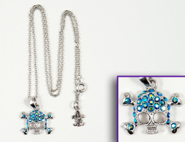 SKULL Blue Jet AB Stone: Necklace