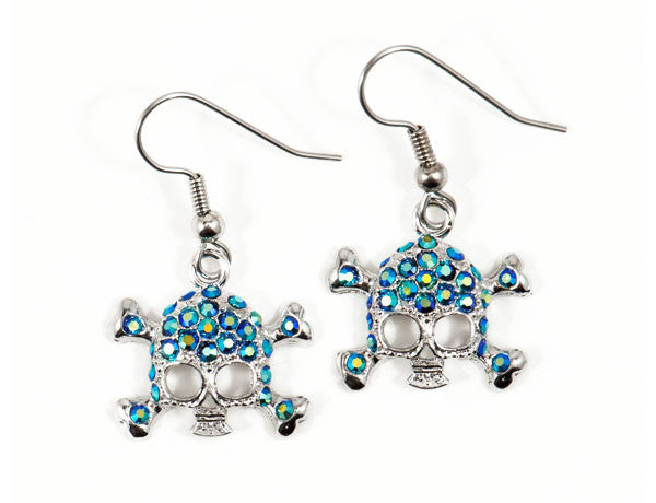 SKULL Blue Jet AB Stone: Earrings