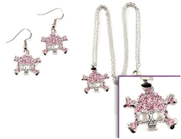 SKULL Light Rose Stone: Earrings w/ Necklace Set