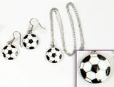 SOCCER BALL Black/White: Earrings w/ Necklace Set