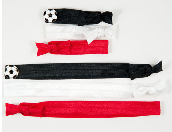 SOCCER BALL Black/White: Hair Tie w/ Headband 6-Packs