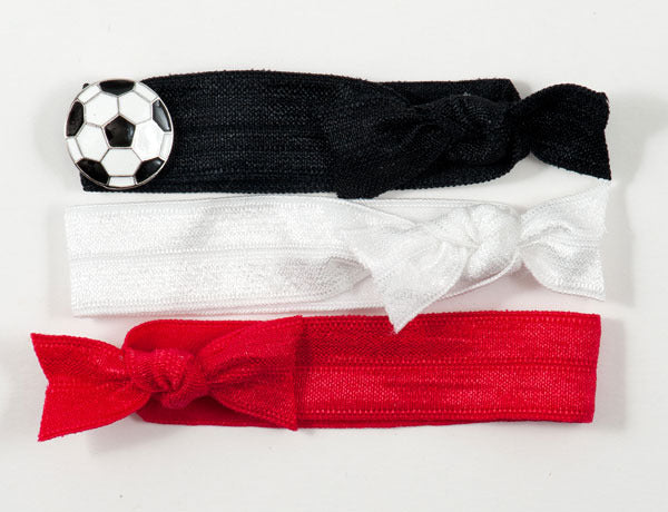 SOCCER BALL: Solid Charm Slider Hair Tie/Bracelet Sets $16.00