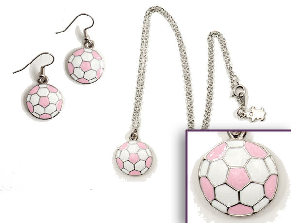 SOCCER BALL Pink/White: Earrings w/ Necklace Set