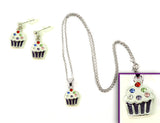 CUPCAKE Purple: Earrings w/ Necklace Set