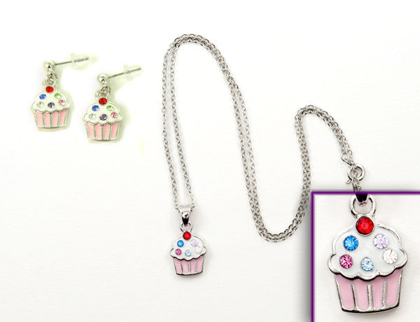 CUPCAKE Pink: Earrings w/ Necklace Set
