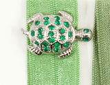 TURTLE Emerald or Topaz Stone: Hair Tie/Bracelet Sets