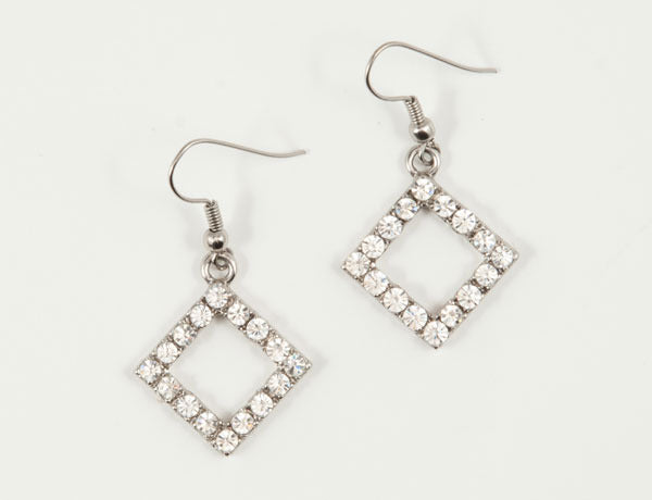SQUARE Clear Stone: Earrings