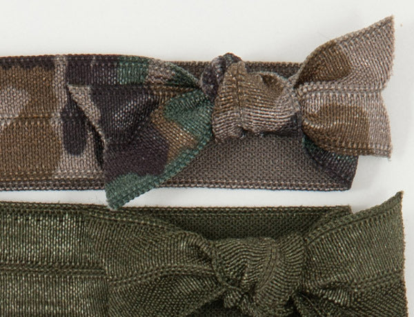 CAMO-3 Dark Choices: Hair Tie w/ Headband 6-Packs