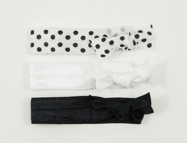 POLKA DOT Black/White: Hair Tie/Bracelet Sets