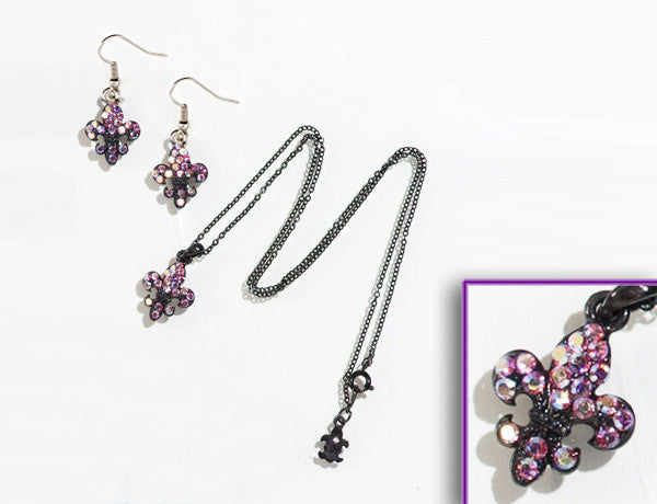FLEUR DE LIS Black-Lt. Rose AB Stone: Earrings w/ Necklace Set