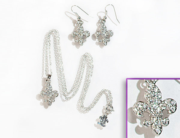 FLEUR DE LIS Clear Stone: Earrings w/ Necklace Set