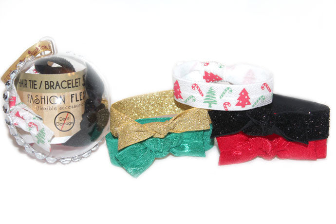CANDYCANE: 5-Pack Hair Ties / Bracelets FLEXYs® in Bling Ball