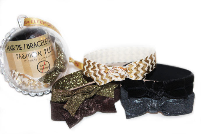 DASHING: 5-Pack Hair Ties / Bracelets FLEXYs® in Bling Ball