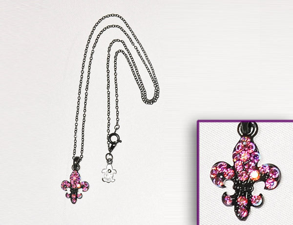 FLEUR DE LIS Black-Light Rose AB Stone: Necklace