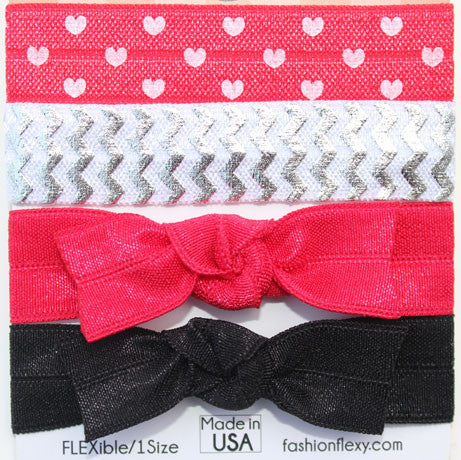 HEARTS: 4-Pack Hair Ties (Pony) / Bracelets FLEXYs®