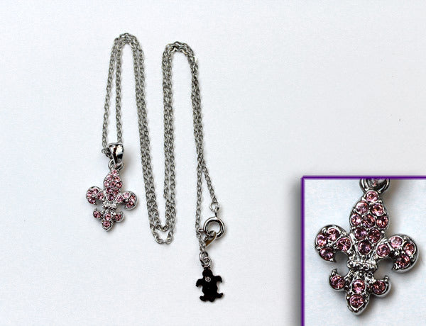 FLEUR DE LIS Light Rose Stone: Necklace