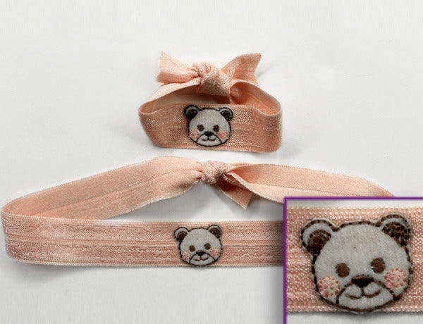TEDDY BEAR BEIGE APPLIQUE: Hair Ties & Headbands