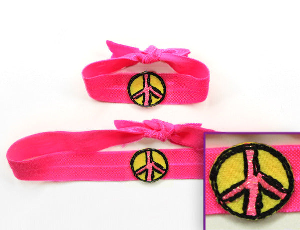PEACE SIGN NEON PINK APPLIQUE: Hair Ties & Headbands
