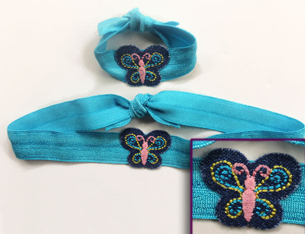 BUTTERFLY APPLIQUE DENIM: Hair Ties & Headbands