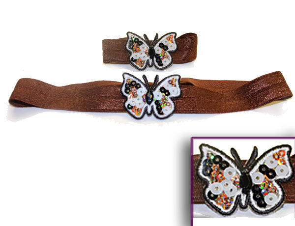 BUTTERFLY APPLIQUE 3-COLOR SEQUINS: Hair Ties & Headbands