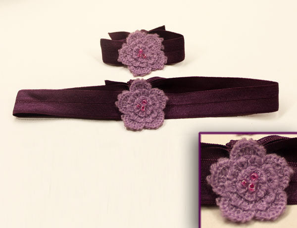 FLOWER APPLIQUE CROCHET PURPLE: Hair Ties & Headbands