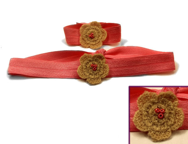 FLOWER APPLIQUE TAN CROCHET: Hair Ties & Headbands