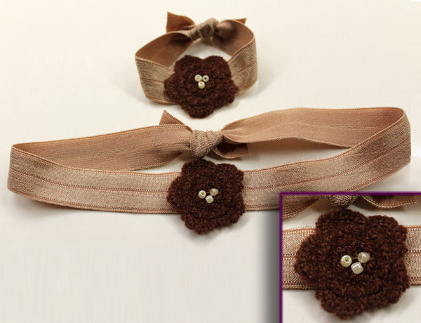 FLOWER APPLIQUE CROCHET MOCHA: Hair Ties & Headbands