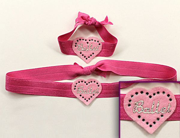 HEART BALLET APPLIQUE: Hair Ties & Headbands