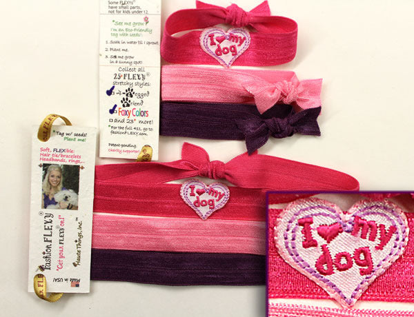 I HEART MY DOG APPLIQUE: Hair Tie & Headband Sets