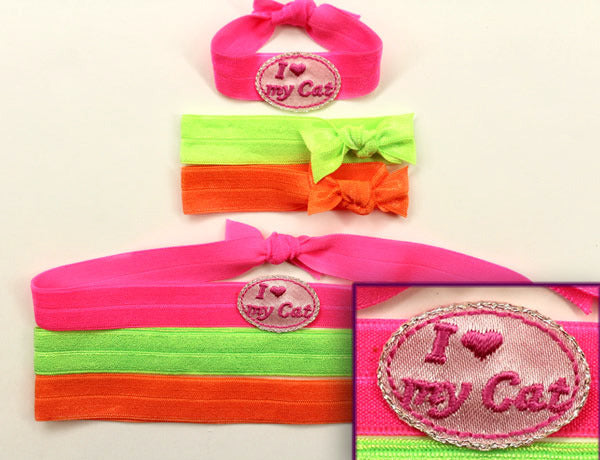 I HEART MY CAT APPLIQUE: Hair Tie & Headband Sets