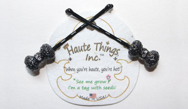 BOW-Black/Jet Hematite Stone: Baubled Bobbies