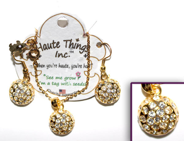 DISCO BALL Gold-Plated/Clear Stone: Earrings w/ Necklace Set