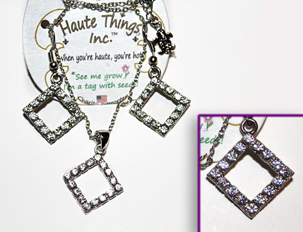 SQUARE Clear Stone: Earrings w/ Necklace Set