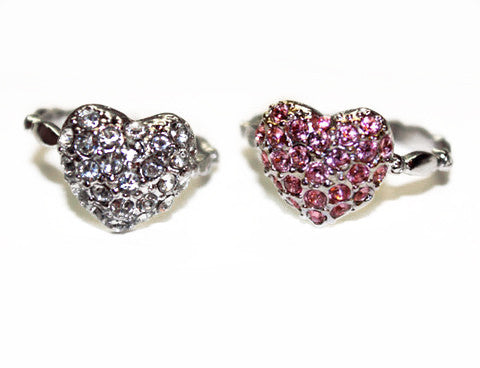 PUFFY HEART: Clear or Light Rose Rings