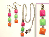 STUDS MINI-TRIPLE NEON: Earrings w/ Necklace Set