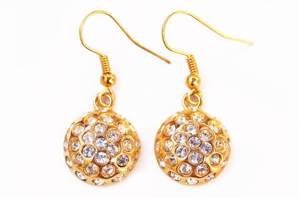 DISCO BALL Gold-Plated/Clear Stone: Earrings
