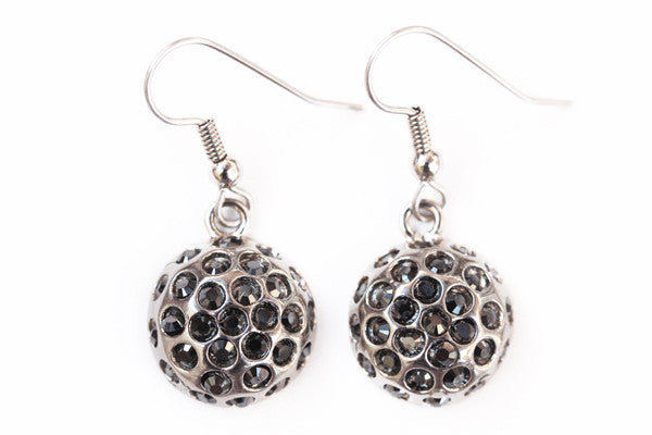 DISCO BALL Antiqued Gray/Jet Hematite Stone: Earrings