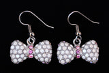 BOW Chalk White/Light Rose Stone: Earrings